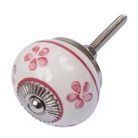 Porzellanknauf weiß mit pinken Blümchen