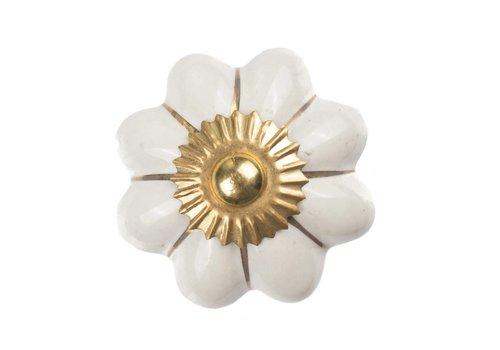 Keramik Möbelknopf weiße Blume mit goldenen Streifen