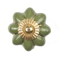 Porzellanknauf grüne Blume mit goldenen Streifen