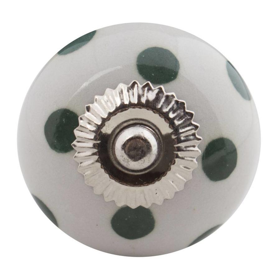 Porzellanknauf weiß mit dunkelgrünen Punkten