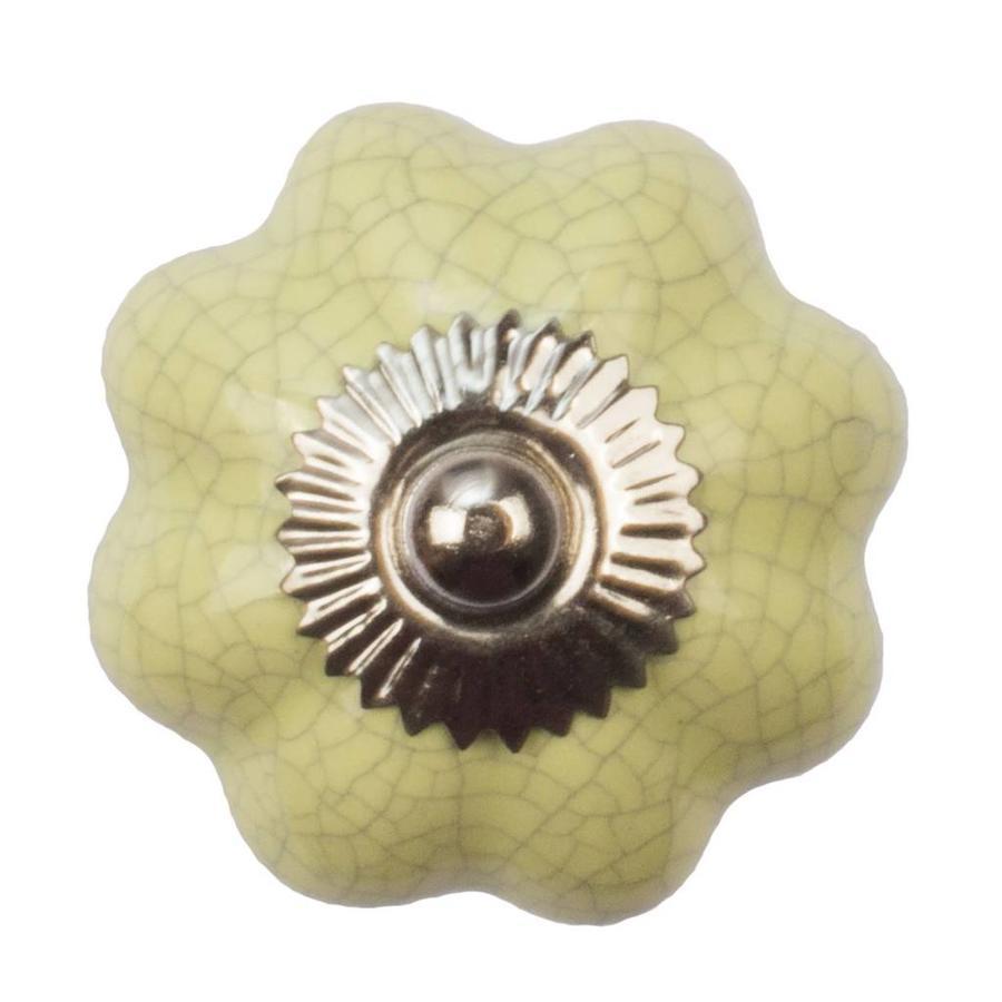 Porzellanknauf gelbe Blume krakeliert
