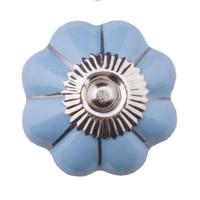 Porzellanknauf blaue Blume mit silbernen Streifen