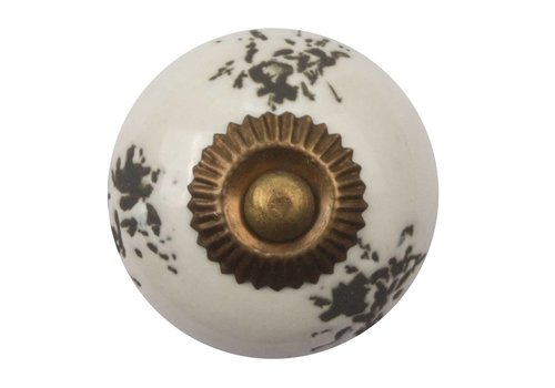 Keramik Möbelknopf destroyed weiß