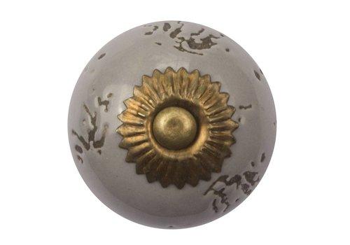 Keramik Möbelknopf destroyed grau