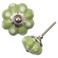 Porzellanknauf Blume - grün mit weißen Punkten