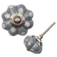 Porzellanknauf Blume - grau mit weißen Punkten