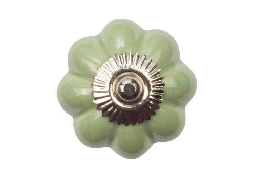Keramik Möbelknopf grüne Blume