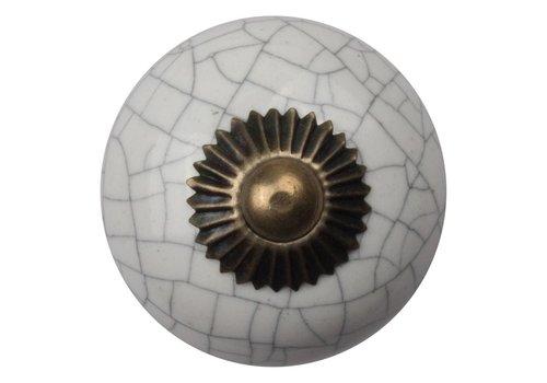 Keramik Möbelknopf weiß krakeliert