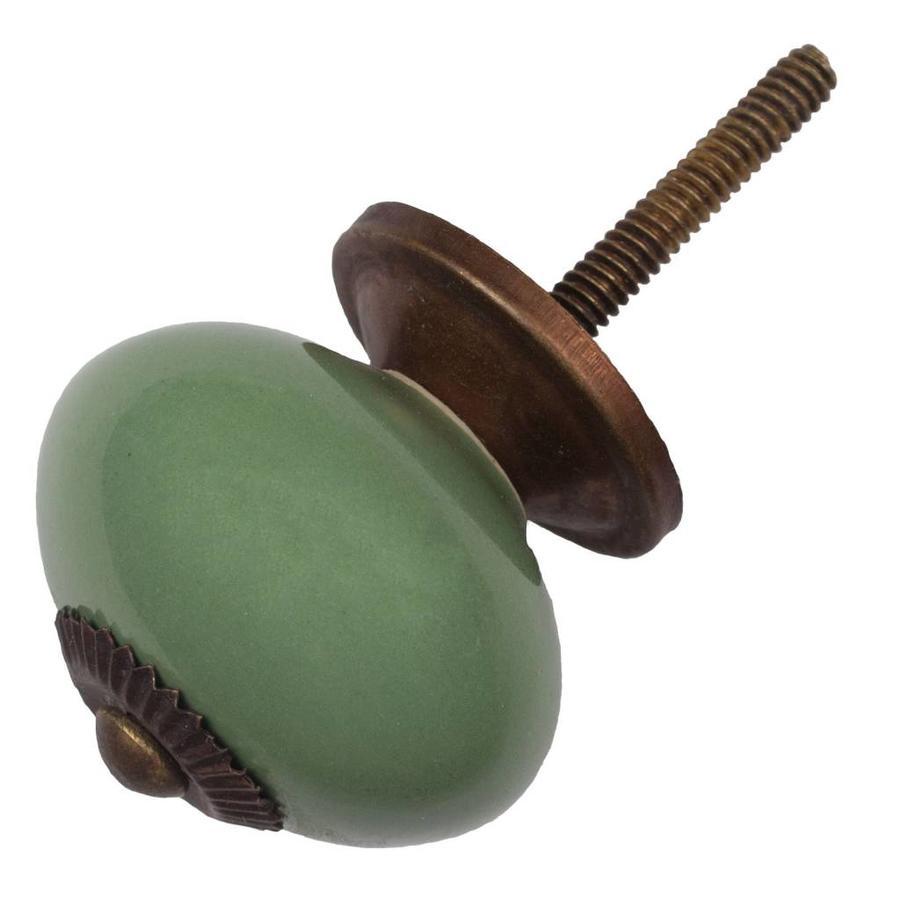 Porzellanknauf grün - dunkler Beschlag