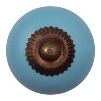 Porzellanknauf blau - dunkler Beschlag