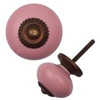 Porzellanknauf pink - dunkler Beschlag