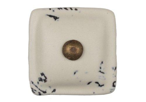 Keramik Möbelknopf cremeweiß - dunkler Beschlag