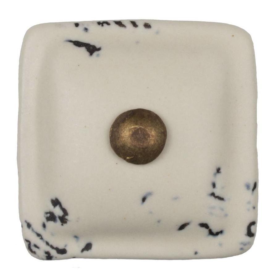 Porzellanknauf cremeweiß - dunkler Beschlag