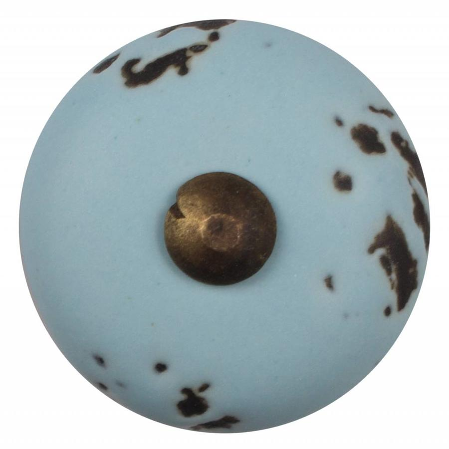 Porzellanknauf hellblau - dunkler Beschlag