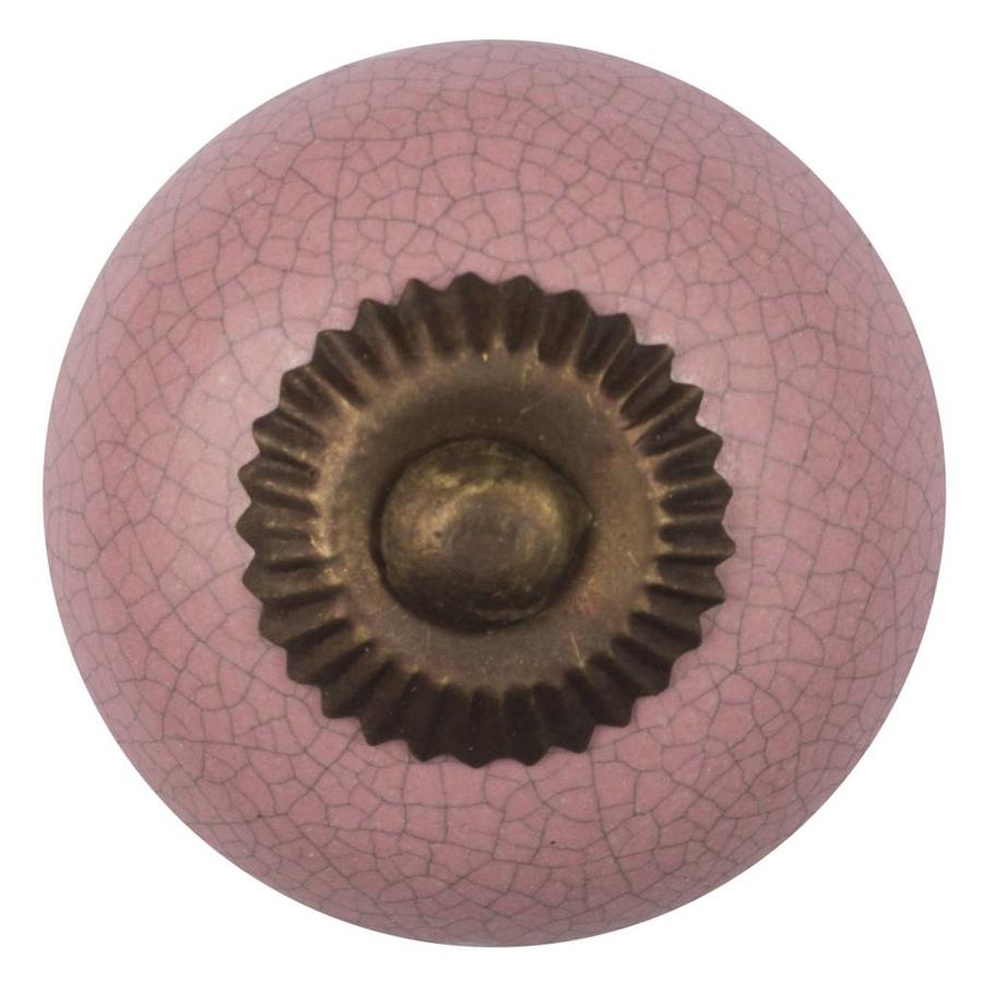 Porzellanknauf pink krakeliert - dunkler Beschlag