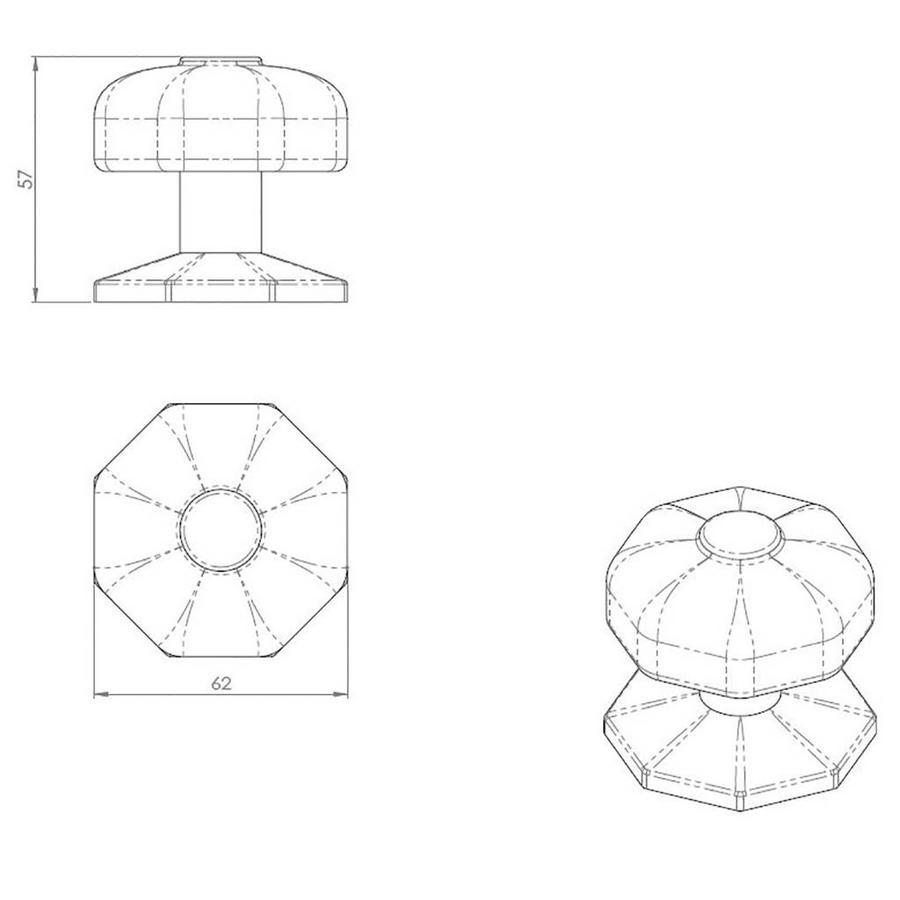Einzelner rustikaler Türknauf - achteckig aus Gusseisen