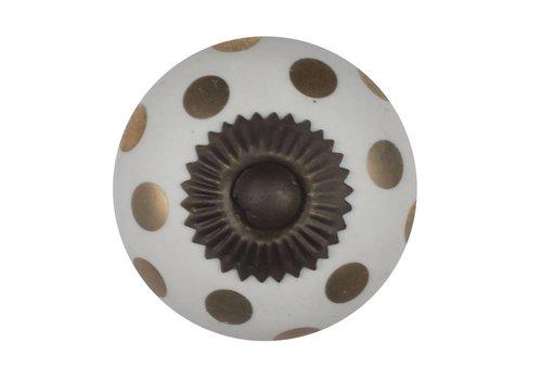 Keramik Möbelknopf weiß mit goldenen Punkten