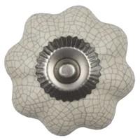 Porzellanknauf cremeweiße Blume krakeliert