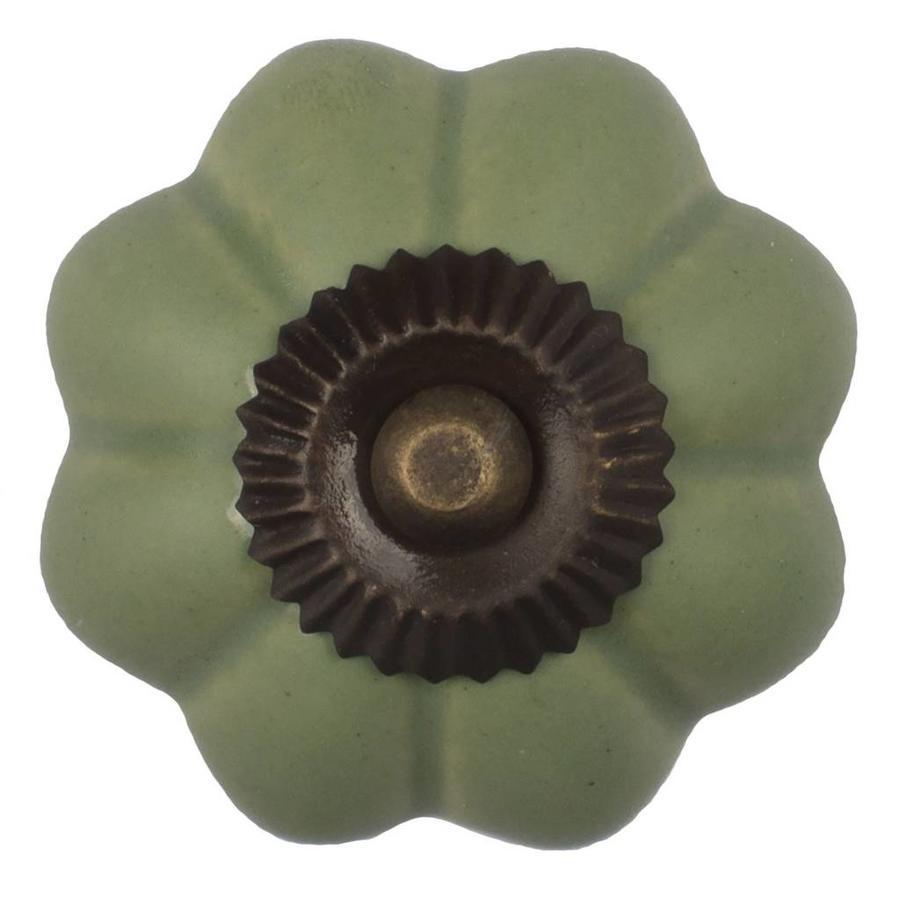 Porzellanknauf grüne Blume - dunkler Beschlag