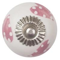 Porzellanknauf weiß mit pink/weiß gepunktete Herzchen
