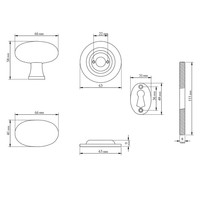 Rustikaler Türknauf oval - Zinn-Effekt