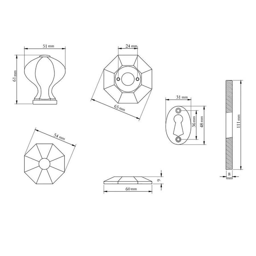 Rustikaler Türknauf achteckig - Zinn-Effekt