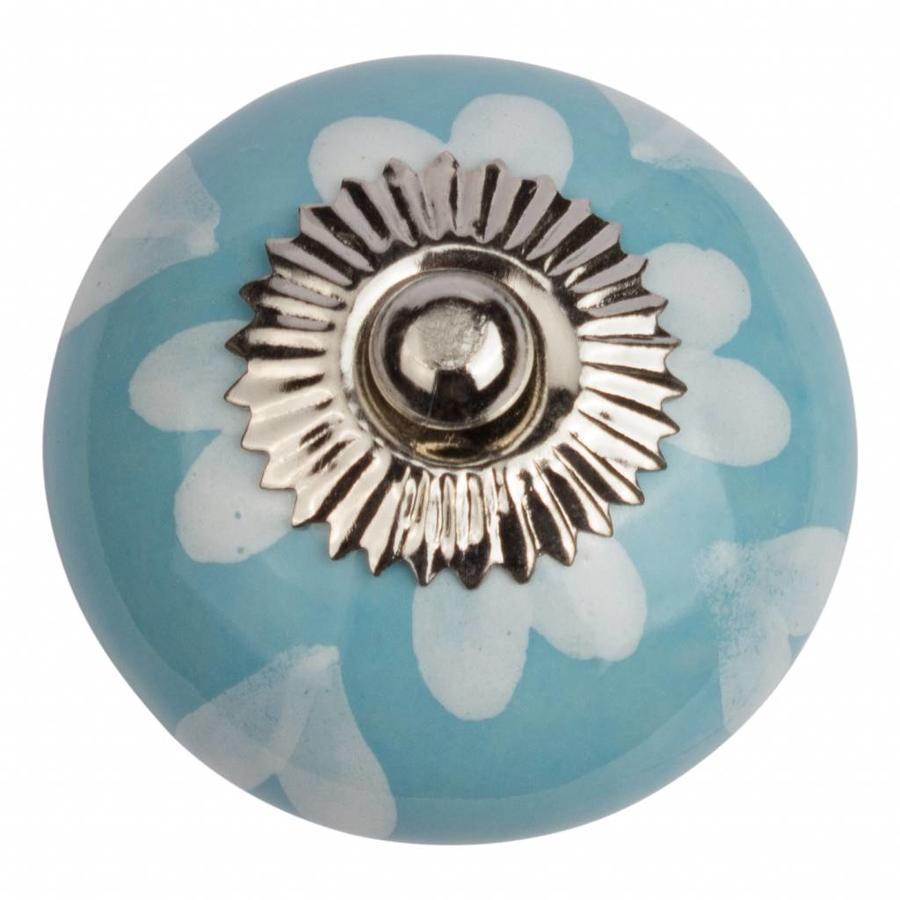Porzellanknauf blau mit weißen Herzchen