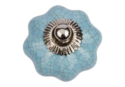 Keramik Möbelknopf türkise Blume krakeliert
