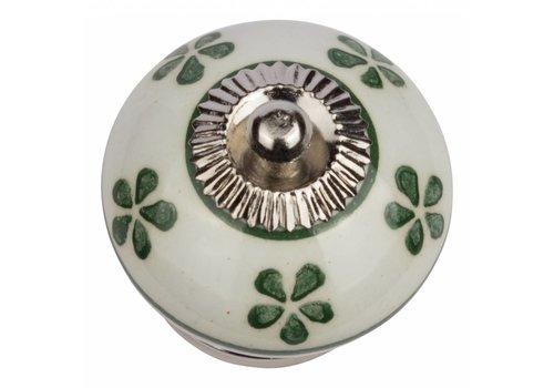 Keramik Möbelknopf weiß mit grünen Blümchen