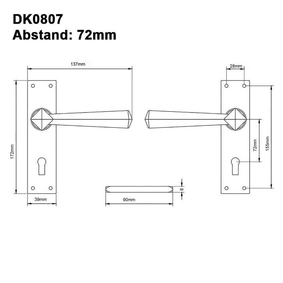 Gusseisen Türdrücker auf geradem Schild - PZ - 72mm