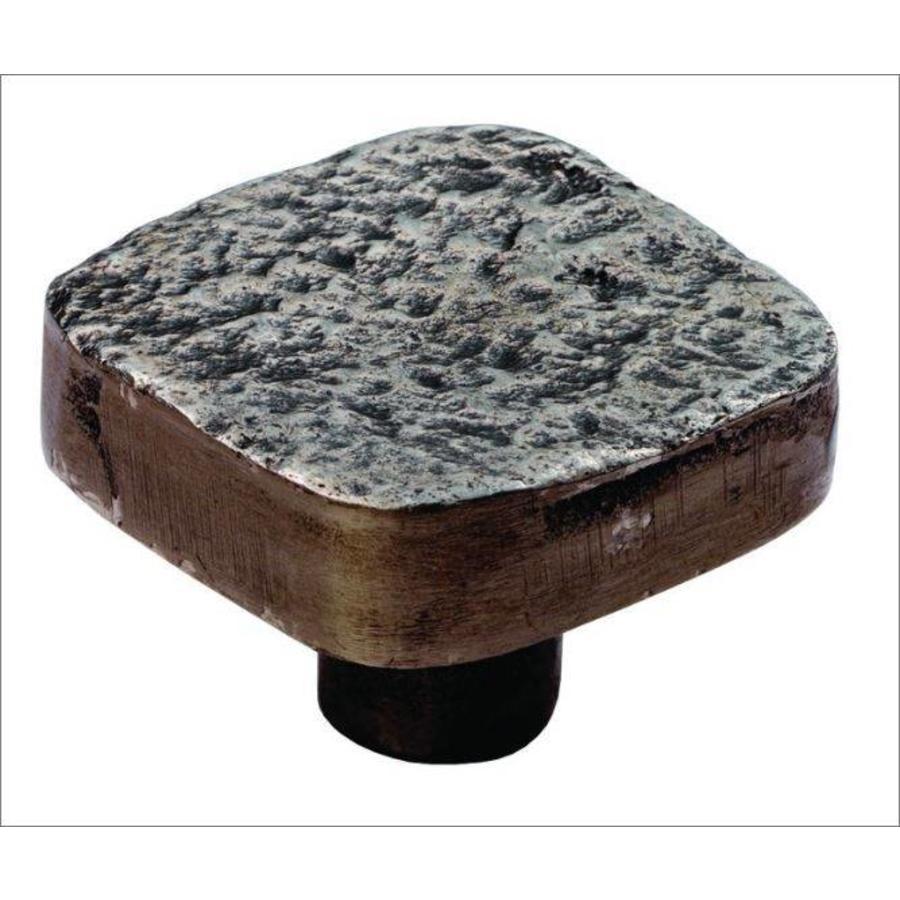 Gusseisen Möbelknauf 32mm Hammerschlag & Zinn-Effekt