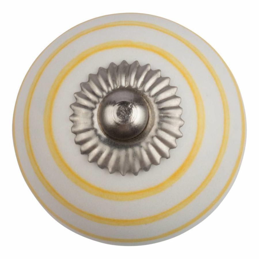 Porzellanknauf weiß mit gelben Streifen