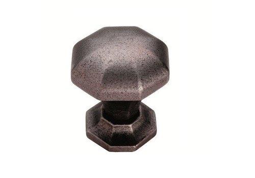 Gusseisen Möbelknauf achteckig 32mm - Zinn-Effekt