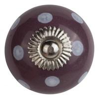Porzellanknauf lila mit weißen Punkten