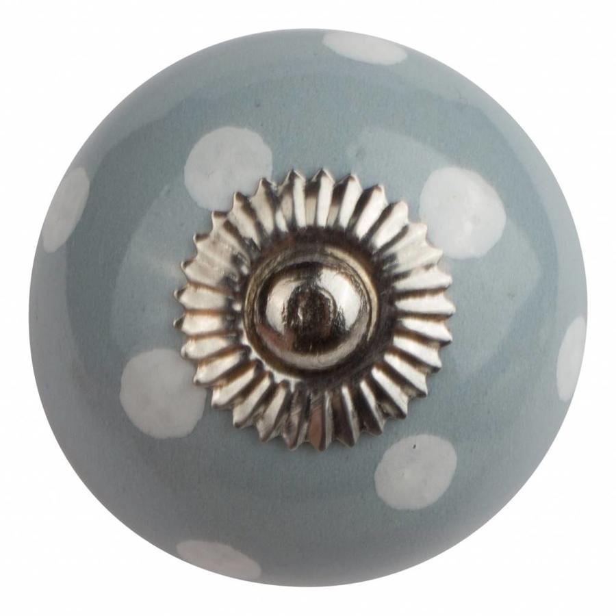 Porzellanknauf grau mit weißen Punkten