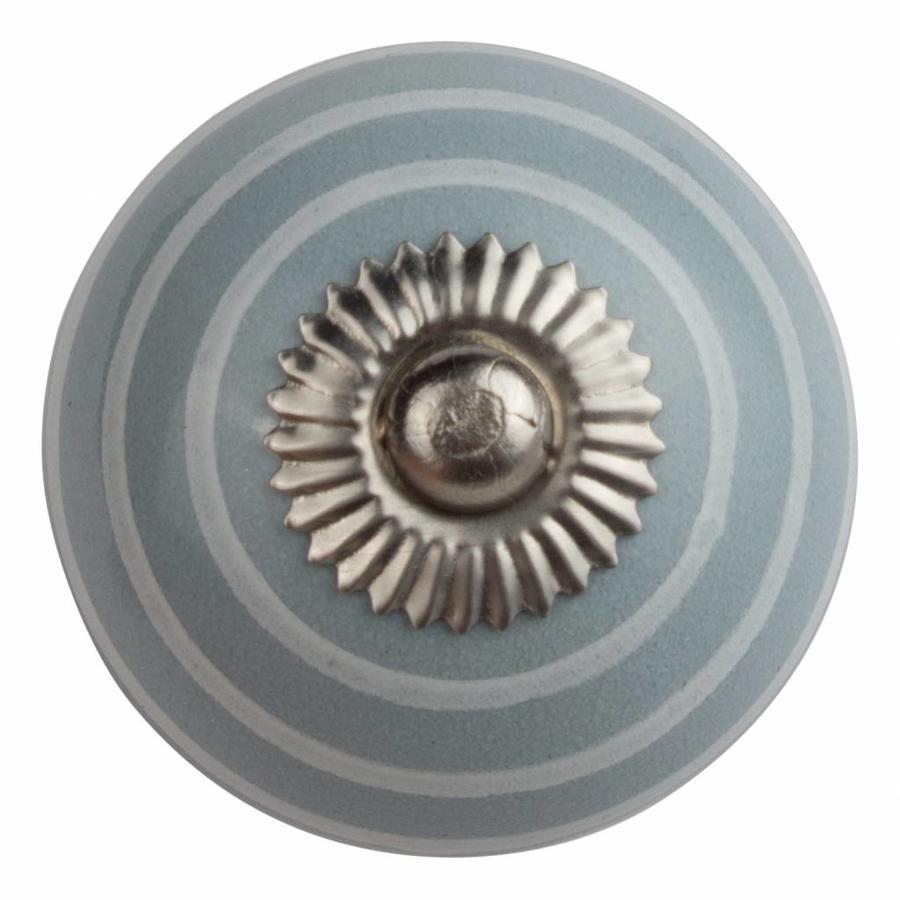 Porzellanknauf grau mit weißen Streifen