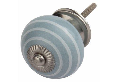 Keramik Möbelknopf grau mit weißen Streifen