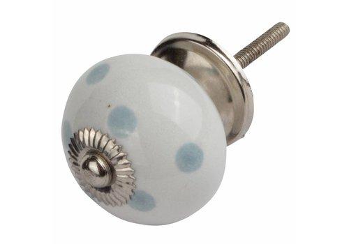Keramik Möbelknopf weiß mit grauen Punkten
