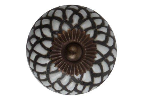 Keramik Möbelknopf Relief - Schlange weiß mit schwarz