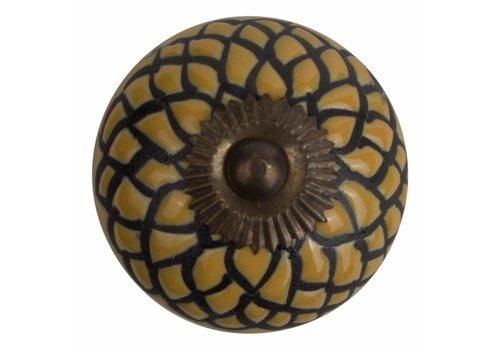 Keramik Möbelknopf Relief - Schlange gelb mit schwarz