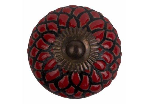 Keramik Möbelknopf Relief - Schlange rot mit schwarz