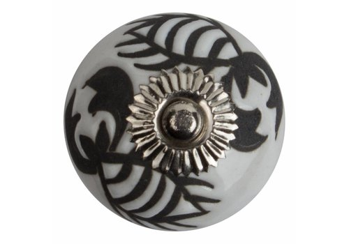 Keramik Möbelknopf Relief - Krebs weiß mit schwarz