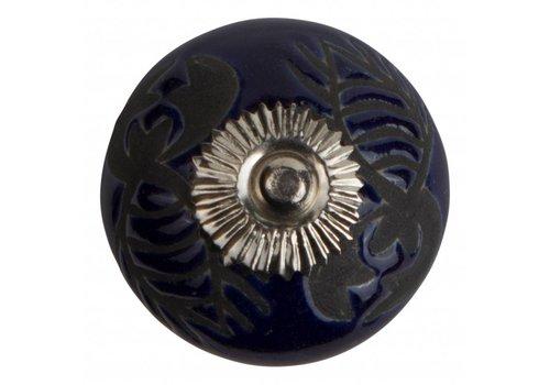 Keramik Möbelknopf Relief - Krebs dunkelblau mit schwarz