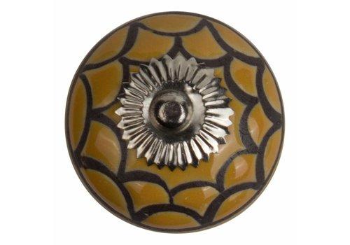 Keramik Möbelknopf Relief - Spinnennetz gelb mit schwarz