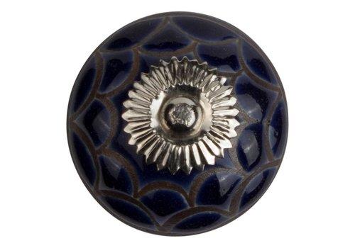 Keramik Möbelknopf Relief - Spinnennetz dunkelblau mit schwarz