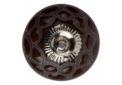 Keramik Möbelknopf Relief - Spinnennetz braun mit schwarz