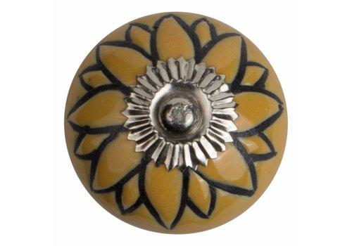 Keramik Möbelknopf Relief - Blume gelb mit schwarz