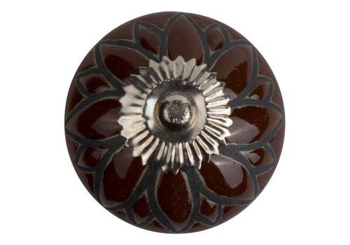 Keramik Möbelknopf Relief - Blume braun mit schwarz