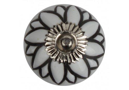 Keramik Möbelknopf Relief - Blume weiß mit schwarz