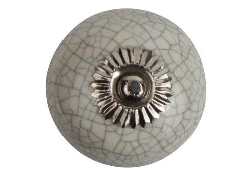 Keramik Möbelknopf weiß krakeliert - silber